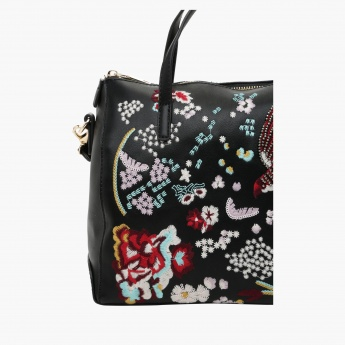 Missy Embroidered Bowler Bag with Zip Closure