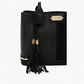 Elle Textured Handbag with Zip Closure and Tassels