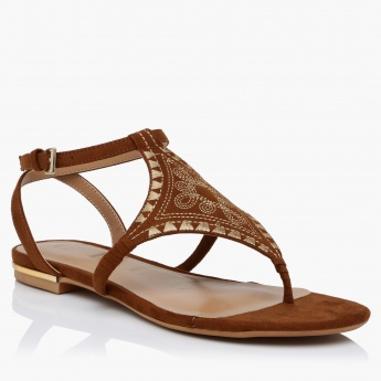 Embroidered Ankle Strap Sandals