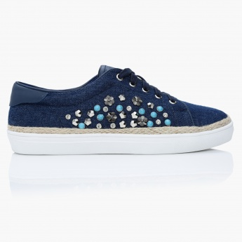Lee Cooper Embellished Espadrille Lace-Up Shoes