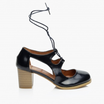 Missy Drawstring Block Heel Shoes