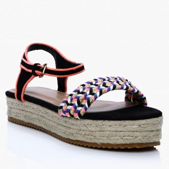 Missy Textured Slip-On Sandals with Buckle Closure